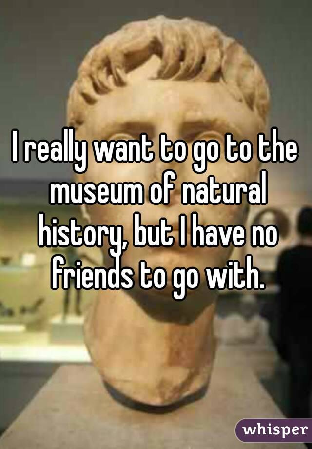 I really want to go to the museum of natural history, but I have no friends to go with.