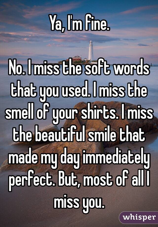 Ya, I'm fine.  No. I miss the soft words that you used. I miss the smell of your shirts. I miss the beautiful smile that made my day immediately perfect. But, most of all I miss you.
