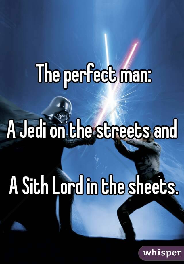 The perfect man:  A Jedi on the streets and   A Sith Lord in the sheets.