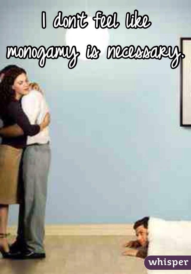 I don't feel like monogamy is necessary.