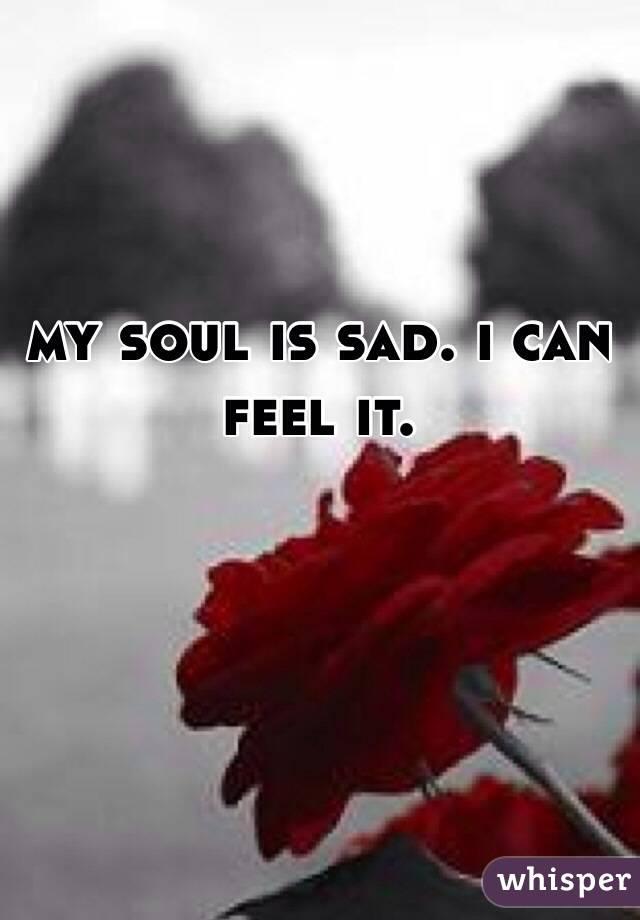 my soul is sad. i can feel it.