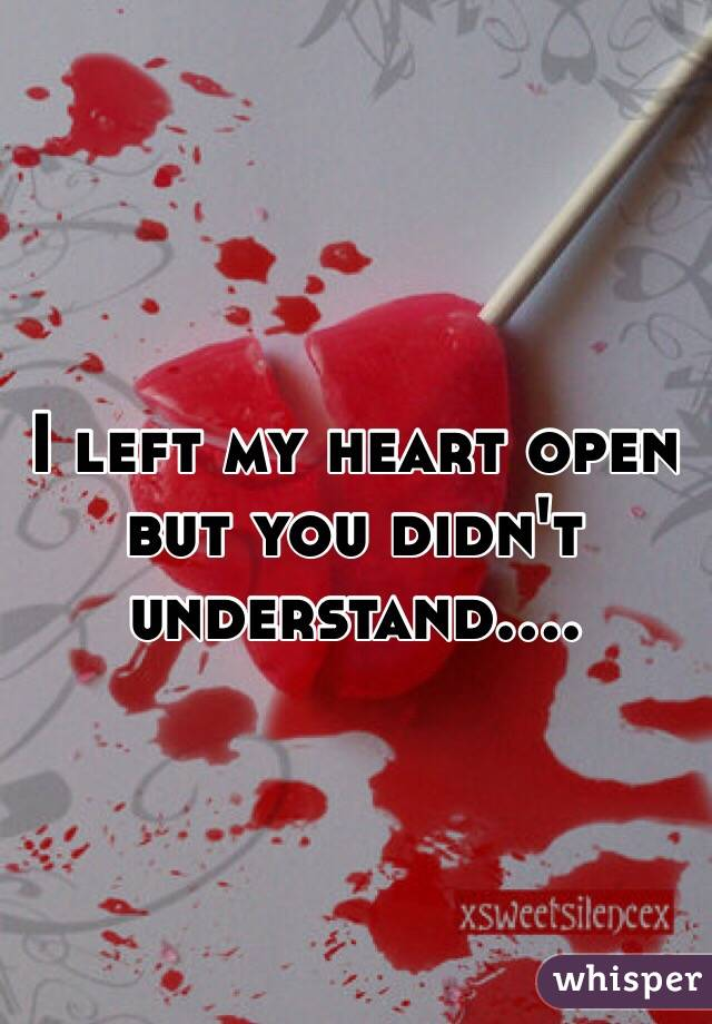 I left my heart open but you didn't understand....