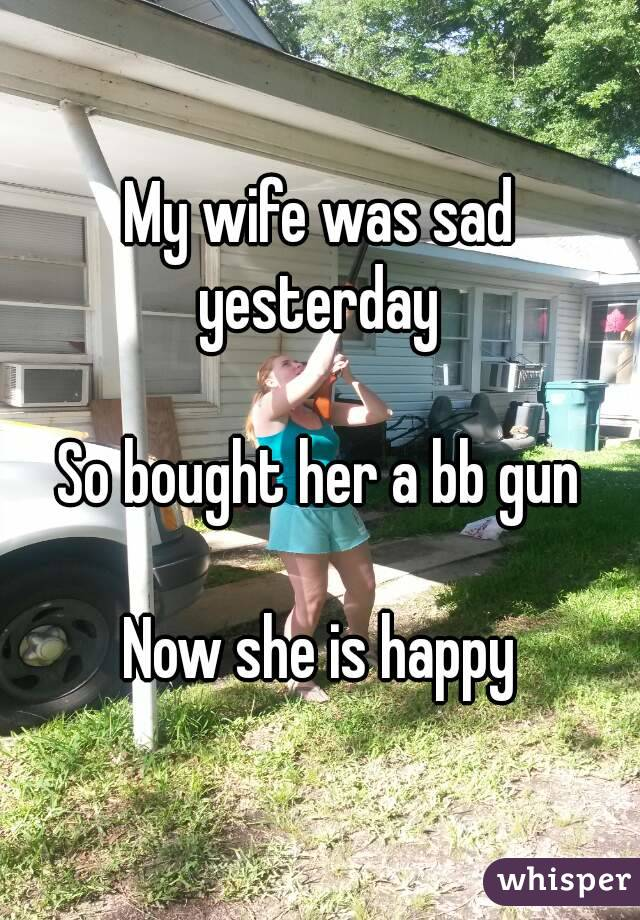 My wife was sad yesterday   So bought her a bb gun  Now she is happy