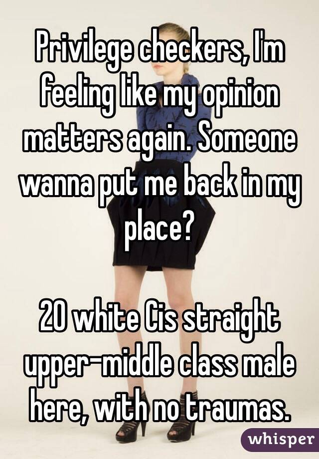 Privilege checkers, I'm feeling like my opinion matters again. Someone wanna put me back in my place?  20 white Cis straight upper-middle class male here, with no traumas.