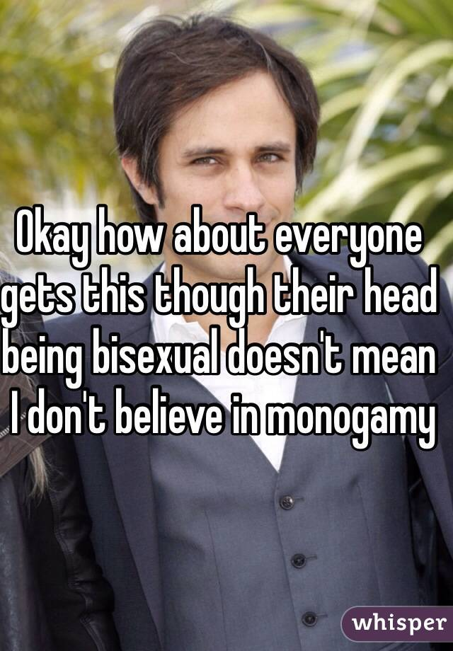Okay how about everyone gets this though their head being bisexual doesn't mean  I don't believe in monogamy
