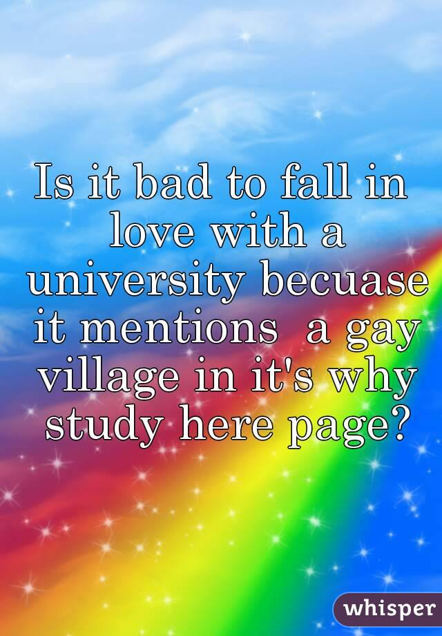 Is it bad to fall in love with a university becuase it mentions  a gay village in it's why study here page?