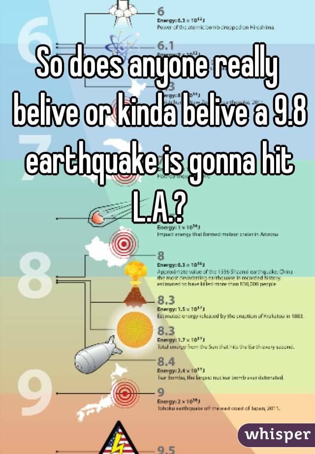 So does anyone really belive or kinda belive a 9.8 earthquake is gonna hit L.A.?