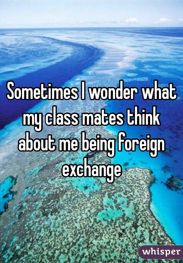 Sometimes I wonder what my class mates think about me being foreign exchange