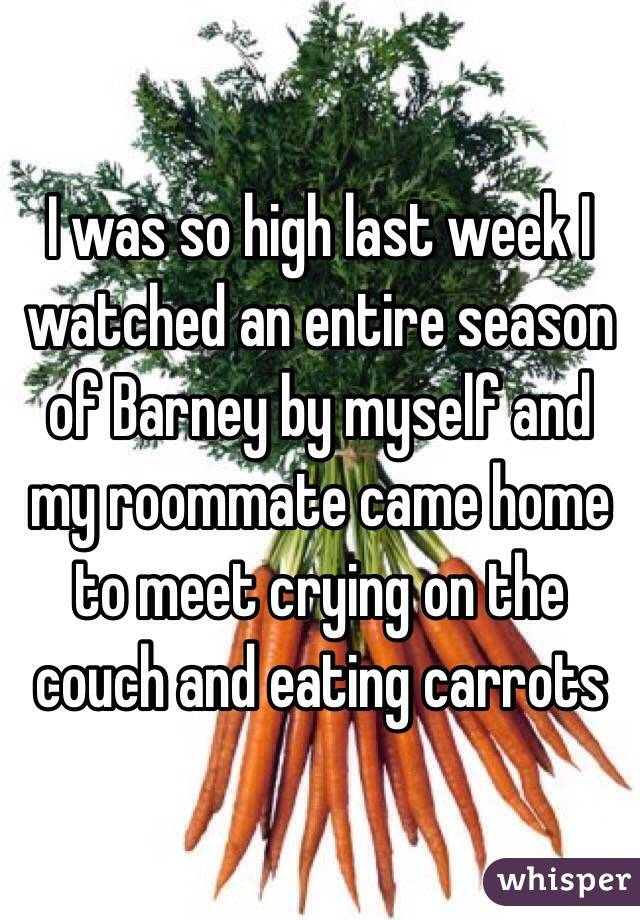 I was so high last week I watched an entire season of Barney by myself and my roommate came home to meet crying on the couch and eating carrots