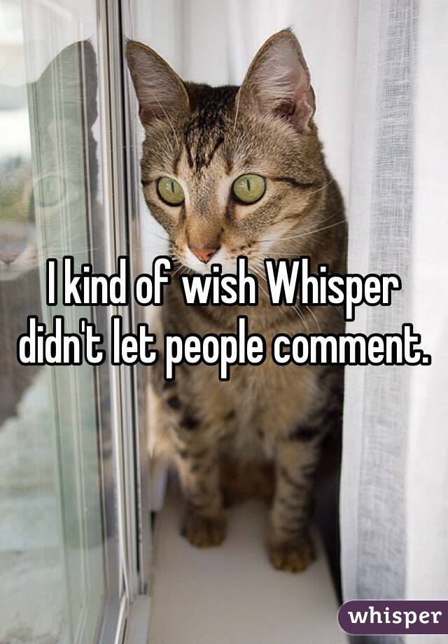 I kind of wish Whisper didn't let people comment.