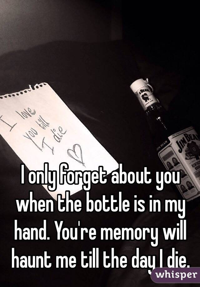 I only forget about you when the bottle is in my hand. You're memory will haunt me till the day I die.