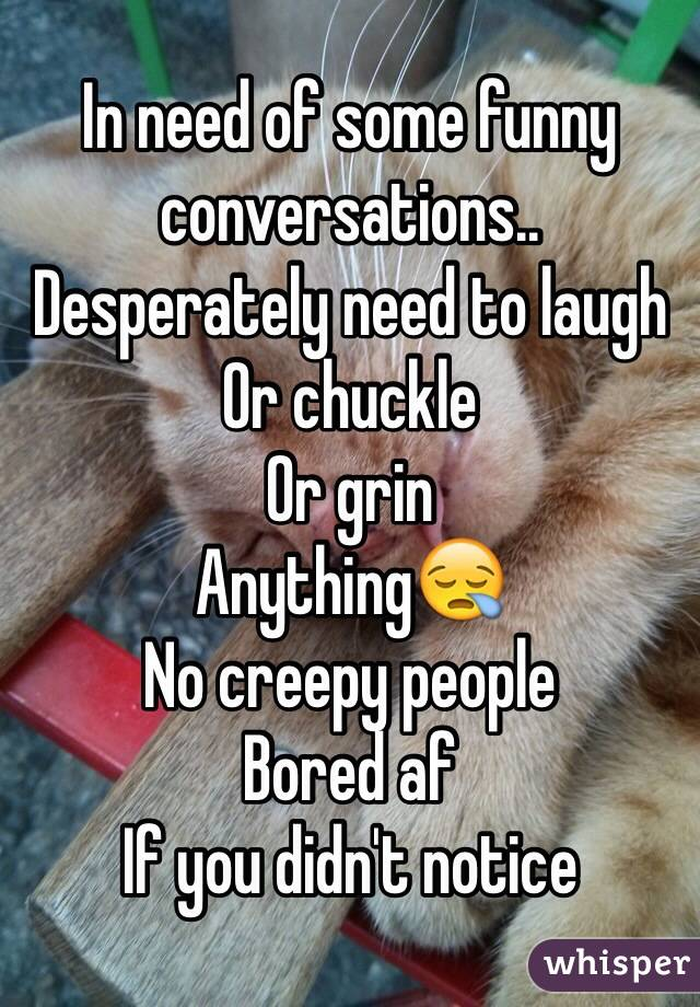 In need of some funny conversations.. Desperately need to laugh Or chuckle  Or grin Anything😪 No creepy people Bored af If you didn't notice