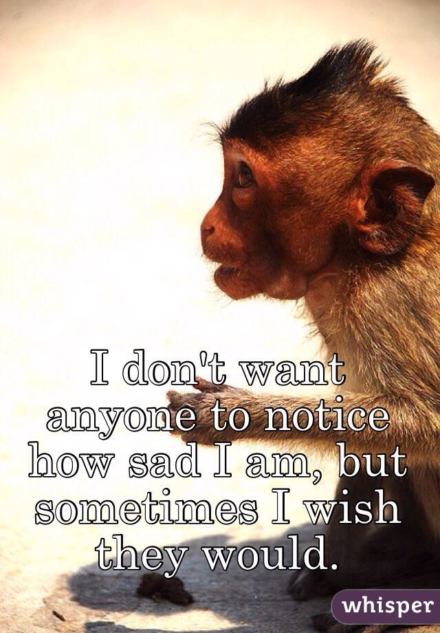 I don't want anyone to notice how sad I am, but sometimes I wish they would.