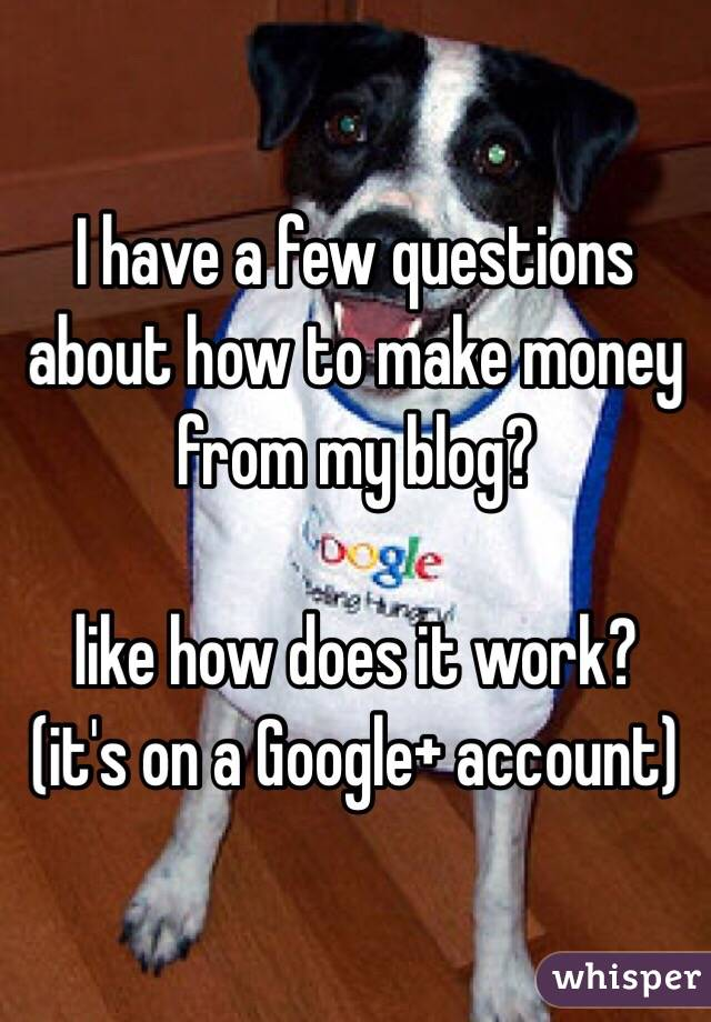 I have a few questions about how to make money from my blog?   like how does it work?  (it's on a Google+ account)