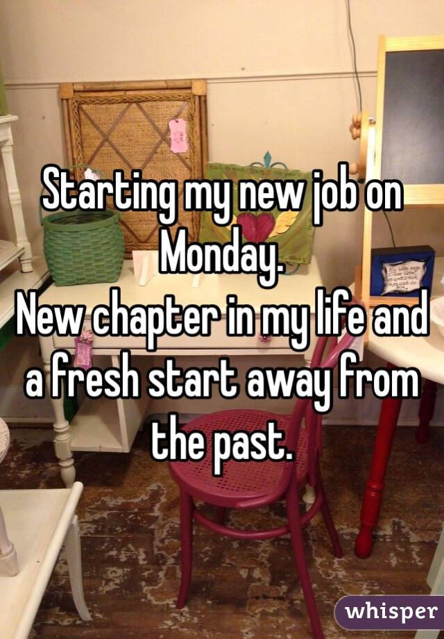 Starting my new job on Monday. New chapter in my life and a fresh start away from the past.