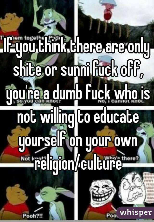 If you think there are only shite or sunni fuck off, you're a dumb fuck who is not willing to educate yourself on your own religion/culture