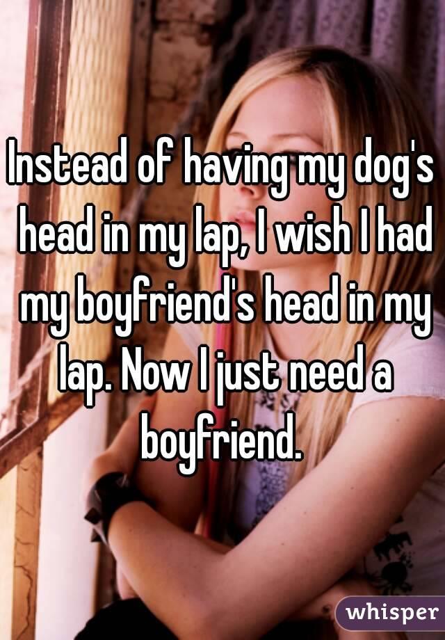 Instead of having my dog's head in my lap, I wish I had my boyfriend's head in my lap. Now I just need a boyfriend.