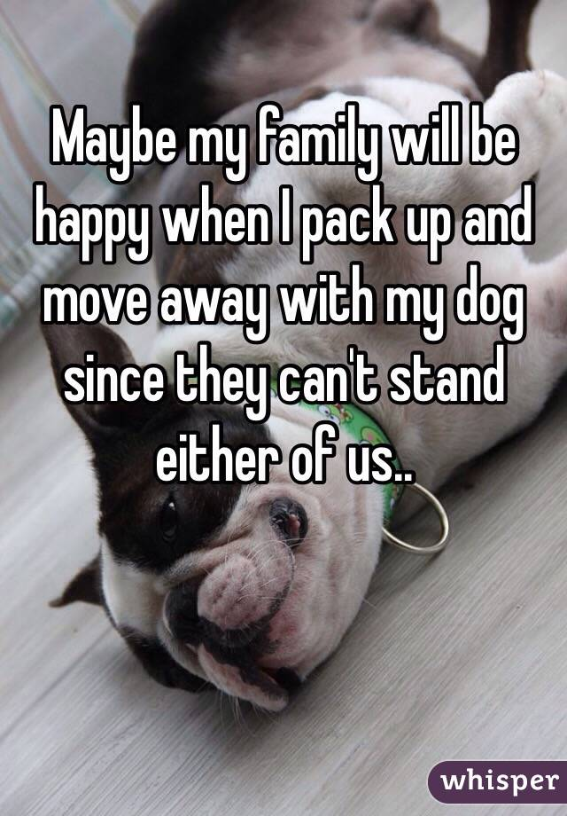 Maybe my family will be happy when I pack up and move away with my dog since they can't stand either of us..