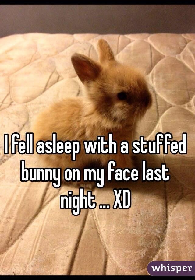 I fell asleep with a stuffed bunny on my face last night ... XD