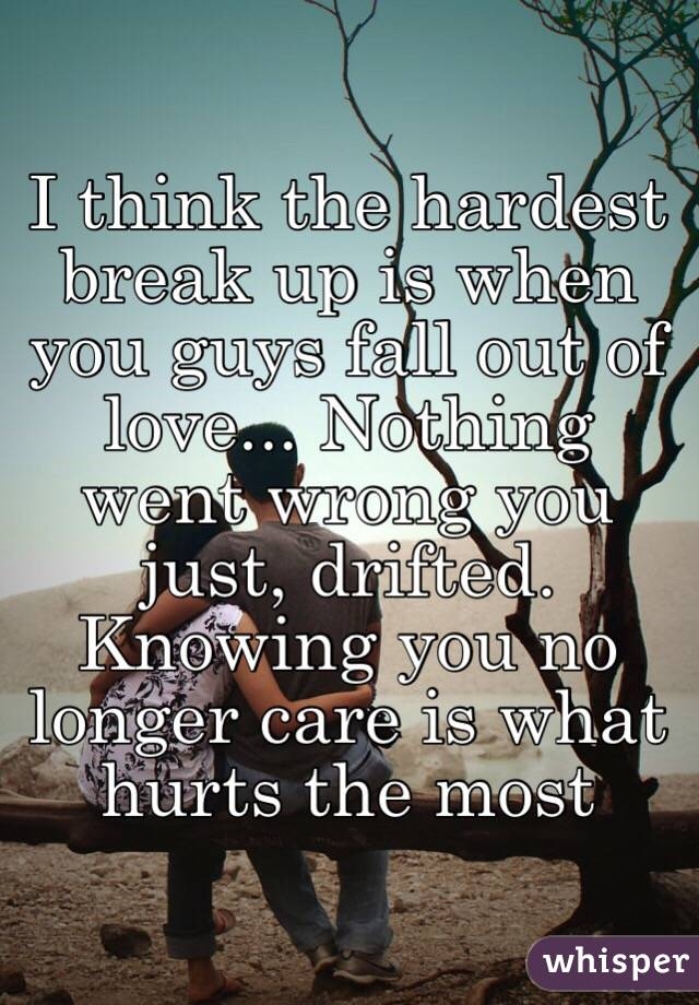 I think the hardest break up is when you guys fall out of love... Nothing went wrong you just, drifted. Knowing you no longer care is what hurts the most