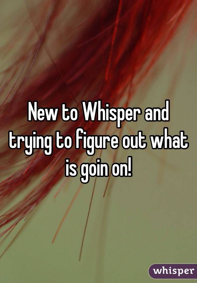 New to Whisper and trying to figure out what is goin on!