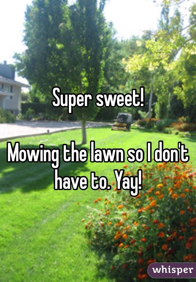 Super sweet!  Mowing the lawn so I don't have to. Yay!