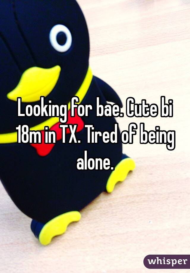 Looking for bae. Cute bi 18m in TX. Tired of being alone.