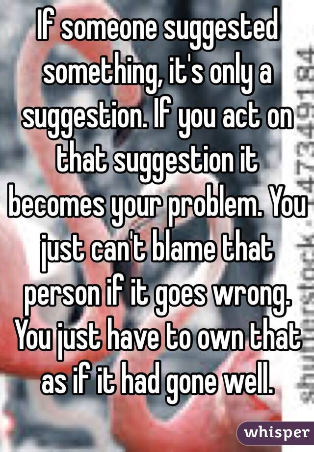 If someone suggested something, it's only a suggestion. If you act on that suggestion it becomes your problem. You just can't blame that person if it goes wrong.  You just have to own that as if it had gone well.