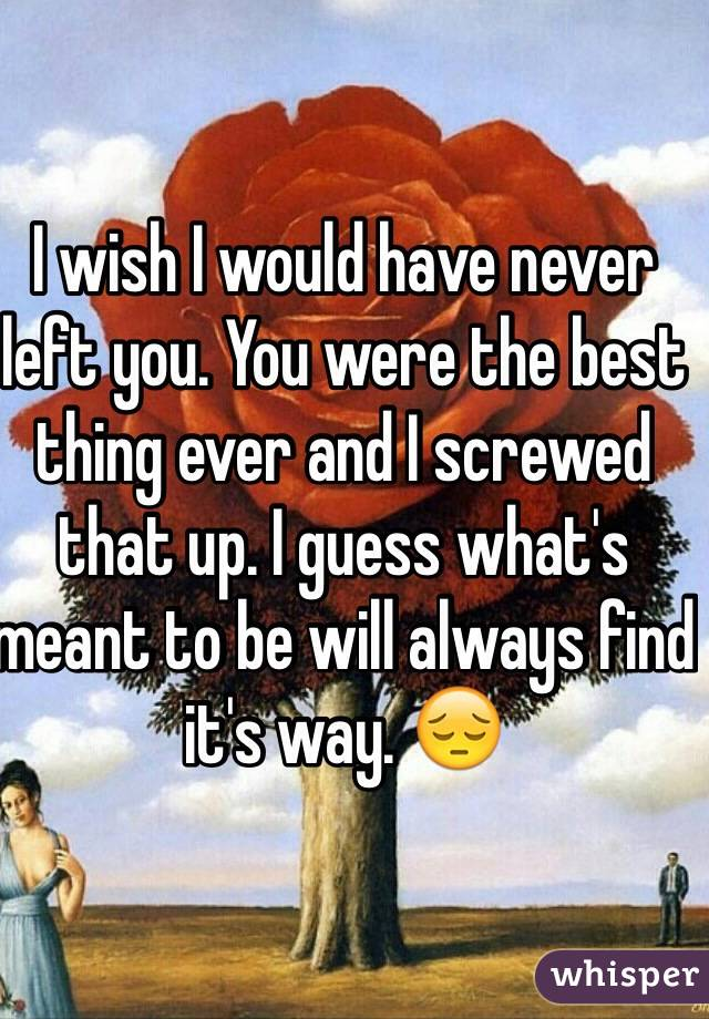 I wish I would have never left you. You were the best thing ever and I screwed that up. I guess what's  meant to be will always find it's way. 😔