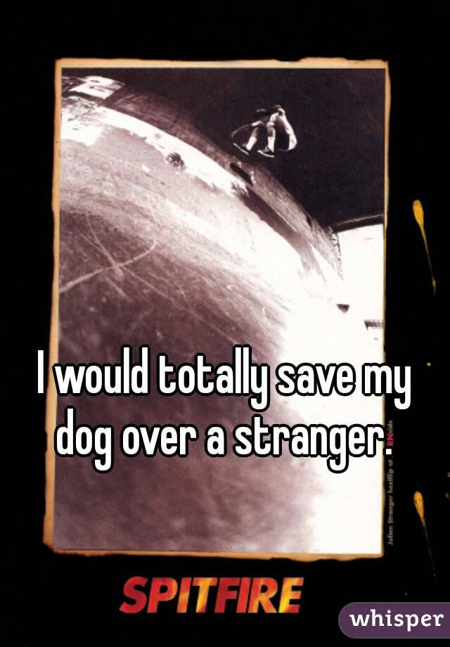 I would totally save my dog over a stranger.