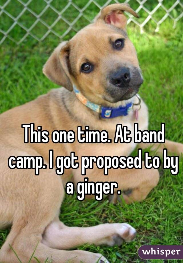 This one time. At band camp. I got proposed to by a ginger.