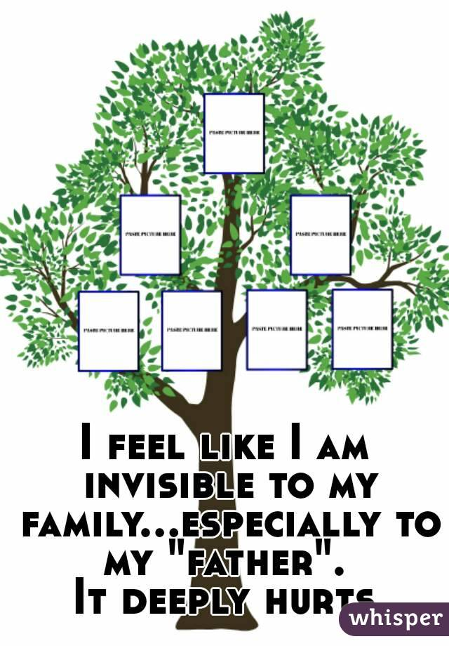 "I feel like I am invisible to my family...especially to my ""father"".  It deeply hurts"