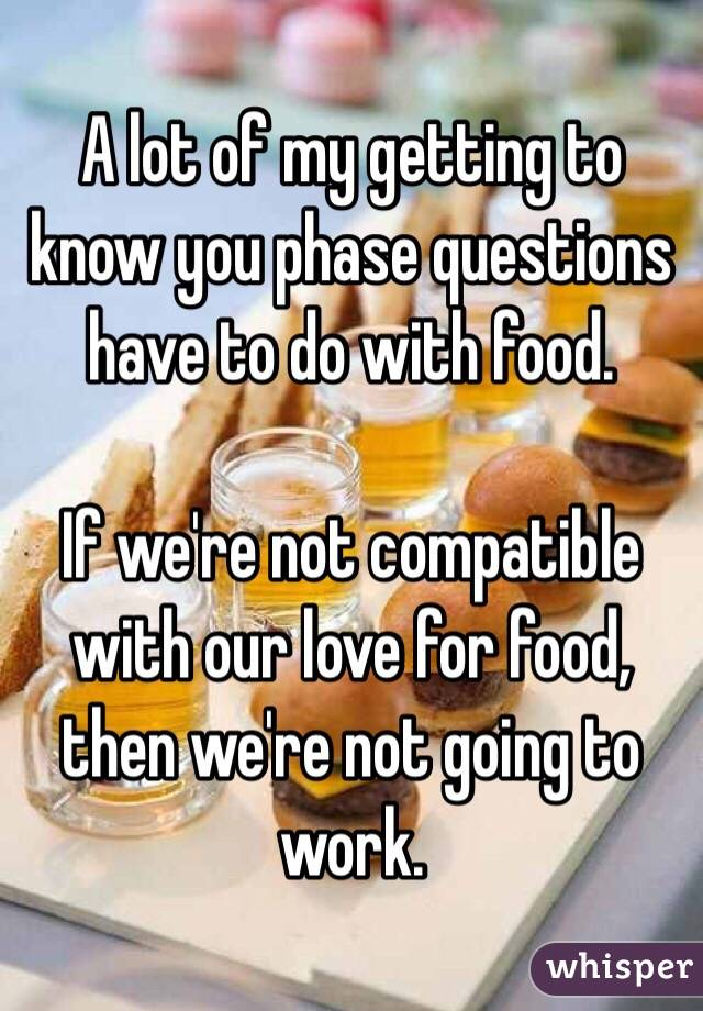 A lot of my getting to know you phase questions have to do with food.  If we're not compatible with our love for food, then we're not going to work.