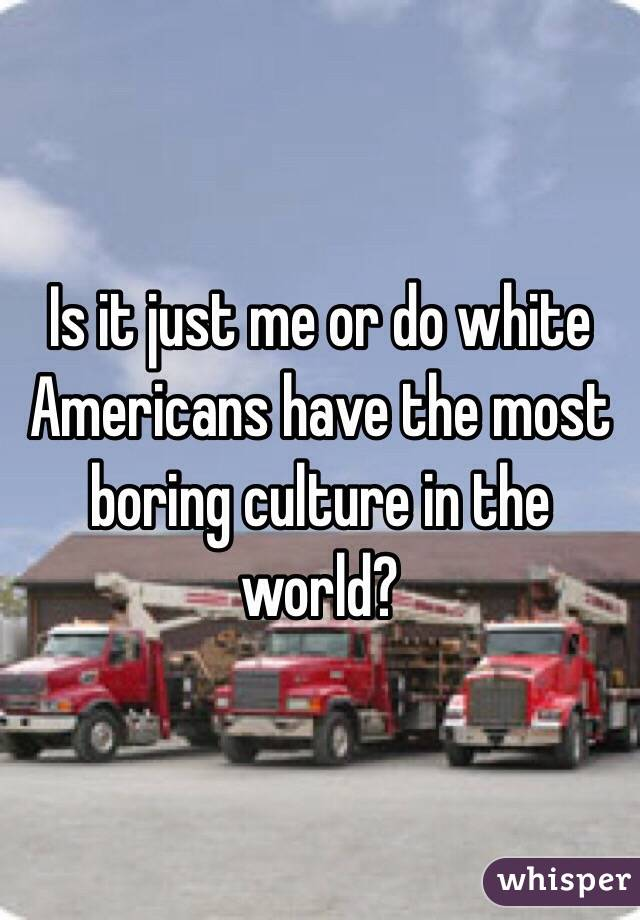 Is it just me or do white Americans have the most boring culture in the world?