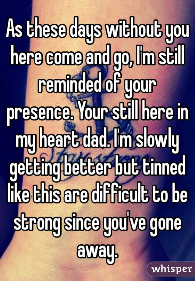 As these days without you here come and go, I'm still reminded of your presence. Your still here in my heart dad. I'm slowly getting better but tinned like this are difficult to be strong since you've gone away.