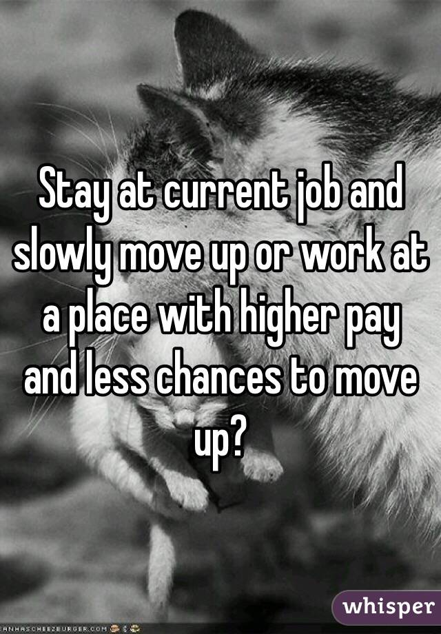 Stay at current job and slowly move up or work at a place with higher pay and less chances to move up?