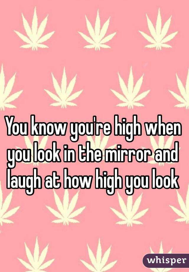 You know you're high when you look in the mirror and laugh at how high you look