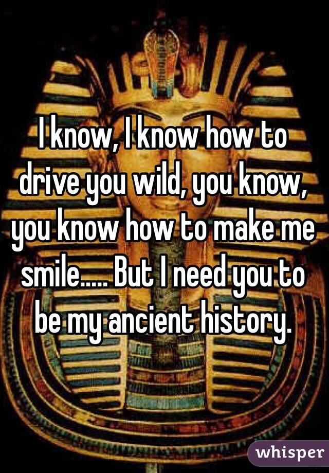 I know, I know how to drive you wild, you know, you know how to make me smile..... But I need you to be my ancient history.