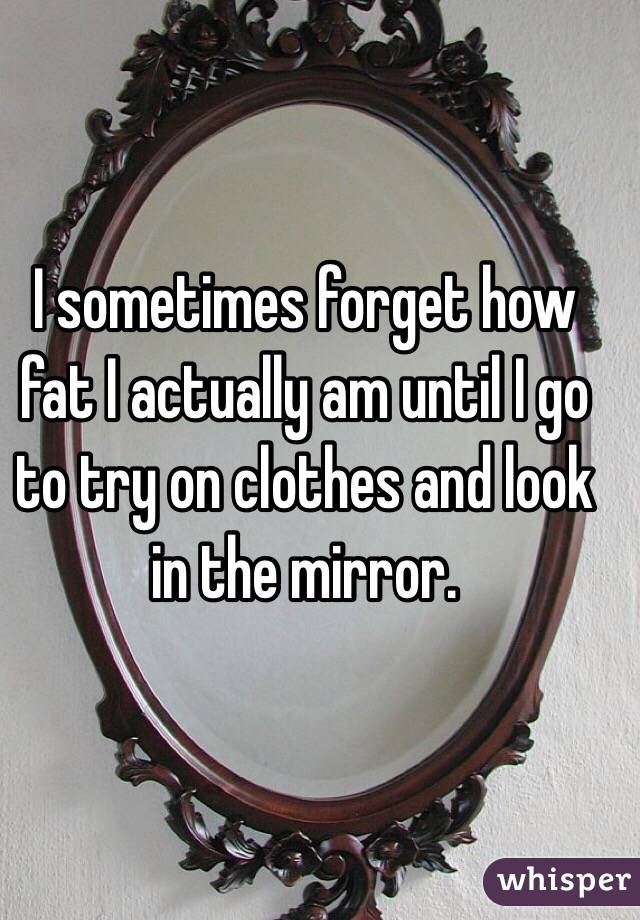 I sometimes forget how fat I actually am until I go to try on clothes and look in the mirror.