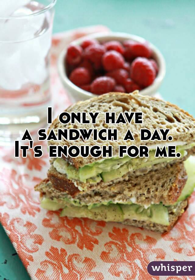 I only have  a sandwich a day. It's enough for me.