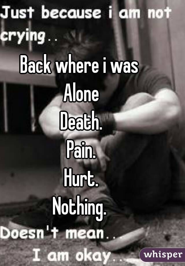 Back where i was  Alone Death. Pain. Hurt. Nothing.