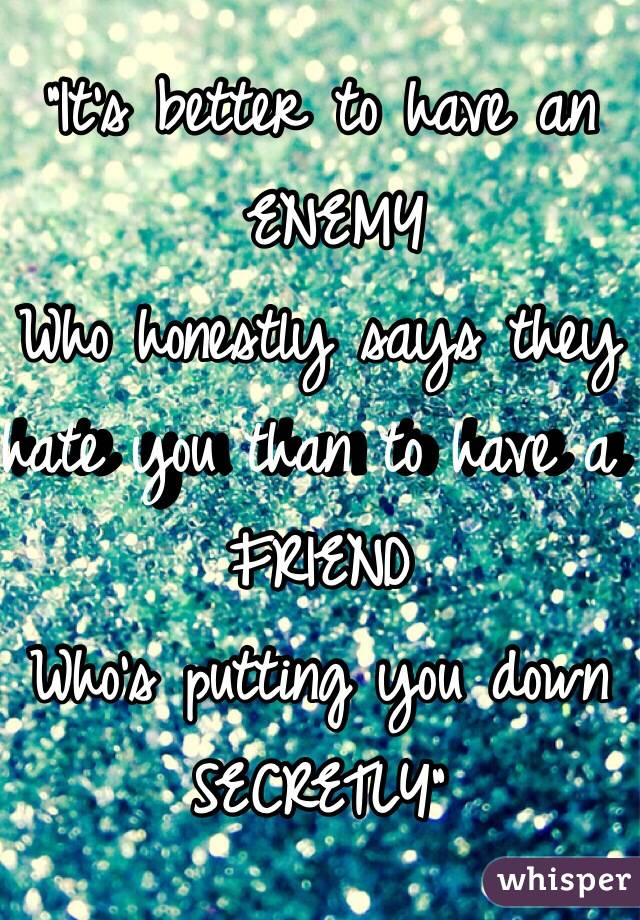 """It's better to have an  ENEMY Who honestly says they hate you than to have a  FRIEND Who's putting you down SECRETLY"""