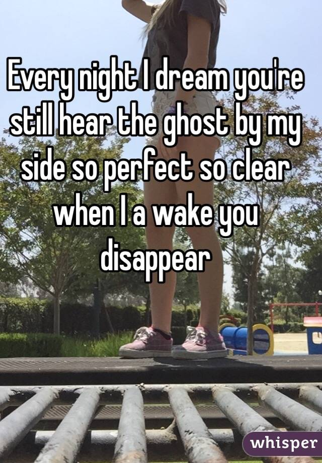 Every night I dream you're still hear the ghost by my side so perfect so clear when I a wake you disappear