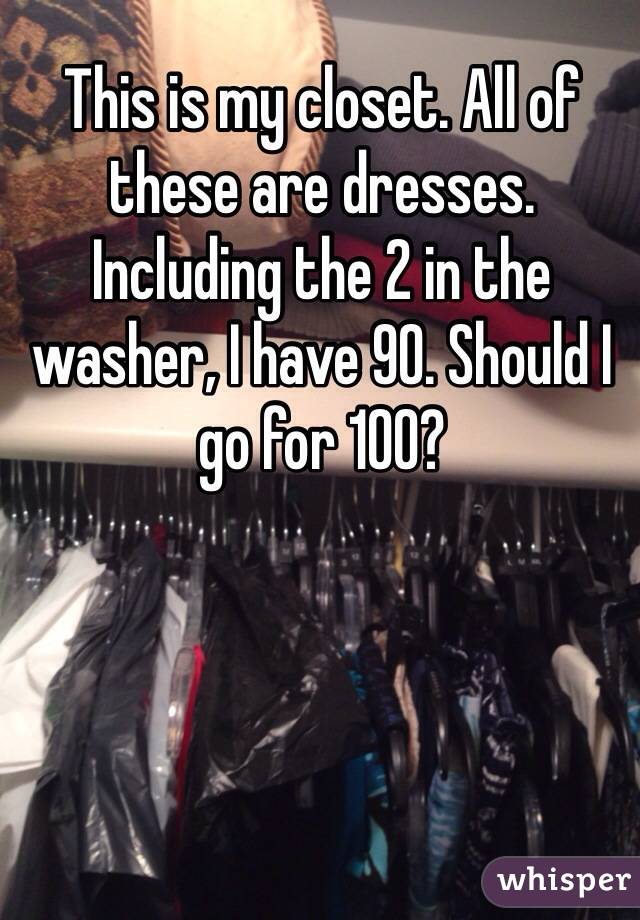 This is my closet. All of these are dresses. Including the 2 in the washer, I have 90. Should I go for 100?