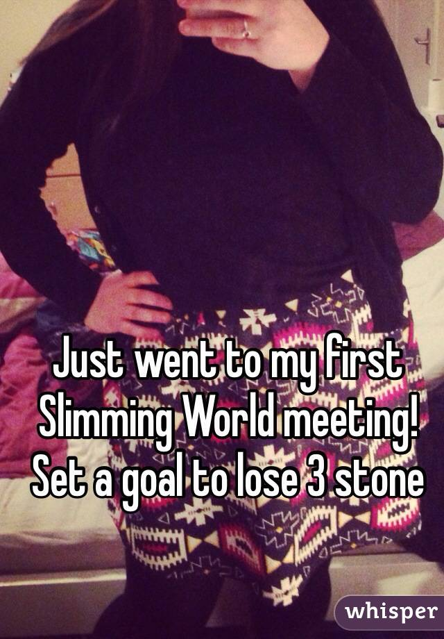 Just went to my first Slimming World meeting!  Set a goal to lose 3 stone