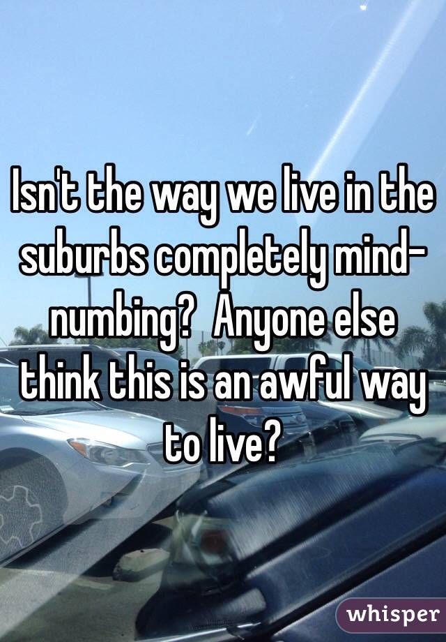 Isn't the way we live in the suburbs completely mind-numbing?  Anyone else think this is an awful way to live?