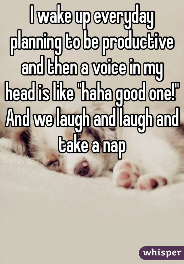 """I wake up everyday planning to be productive and then a voice in my head is like """"haha good one!"""" And we laugh and laugh and take a nap"""