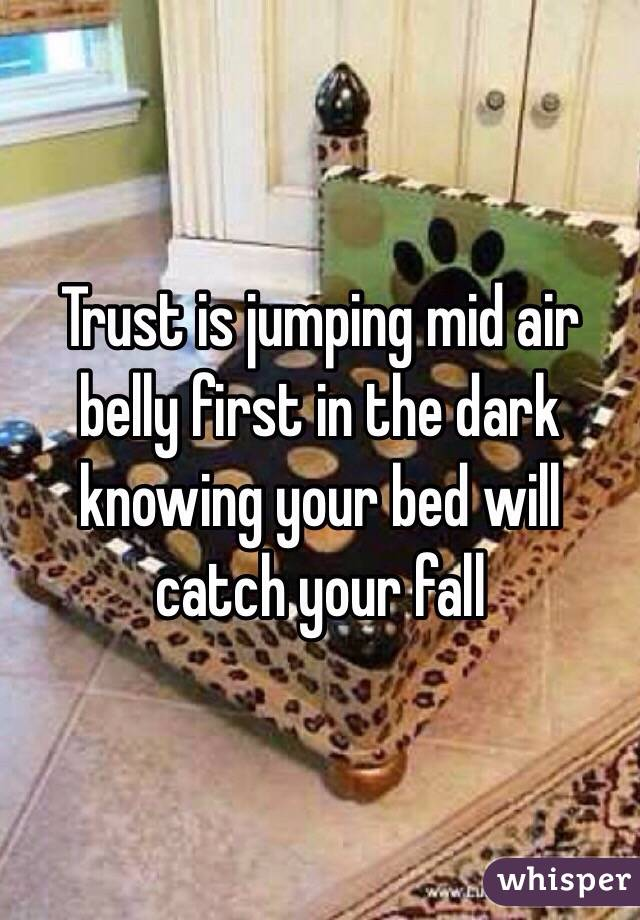 Trust is jumping mid air belly first in the dark knowing your bed will catch your fall