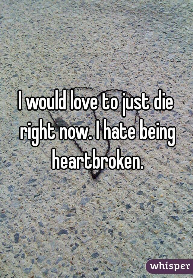 I would love to just die right now. I hate being heartbroken.