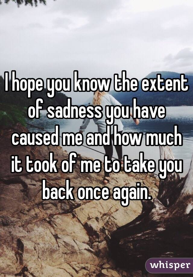 I hope you know the extent of sadness you have caused me and how much it took of me to take you back once again.